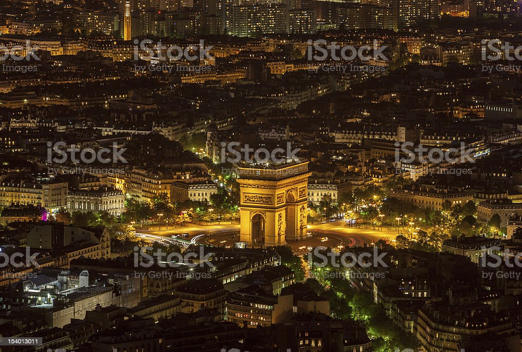 Pairs by Night-  Aerial View stock photo