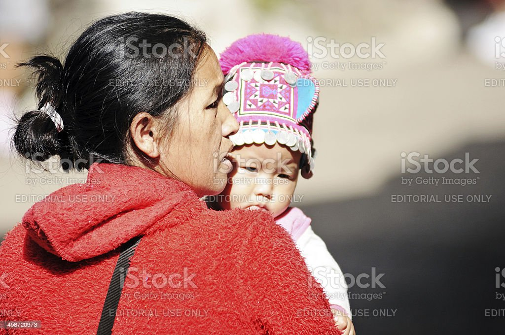PaK Ka Yor hill tribe mother and child stock photo