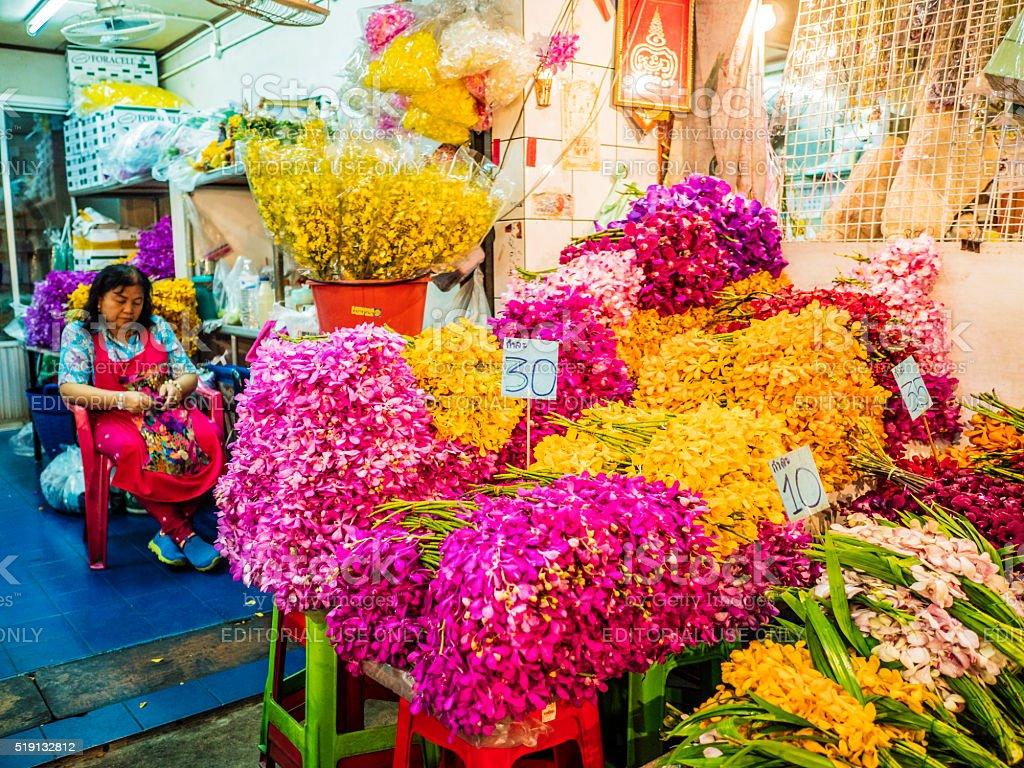 Pak Khlong Talat flower street market Bangkok Thailand stock photo