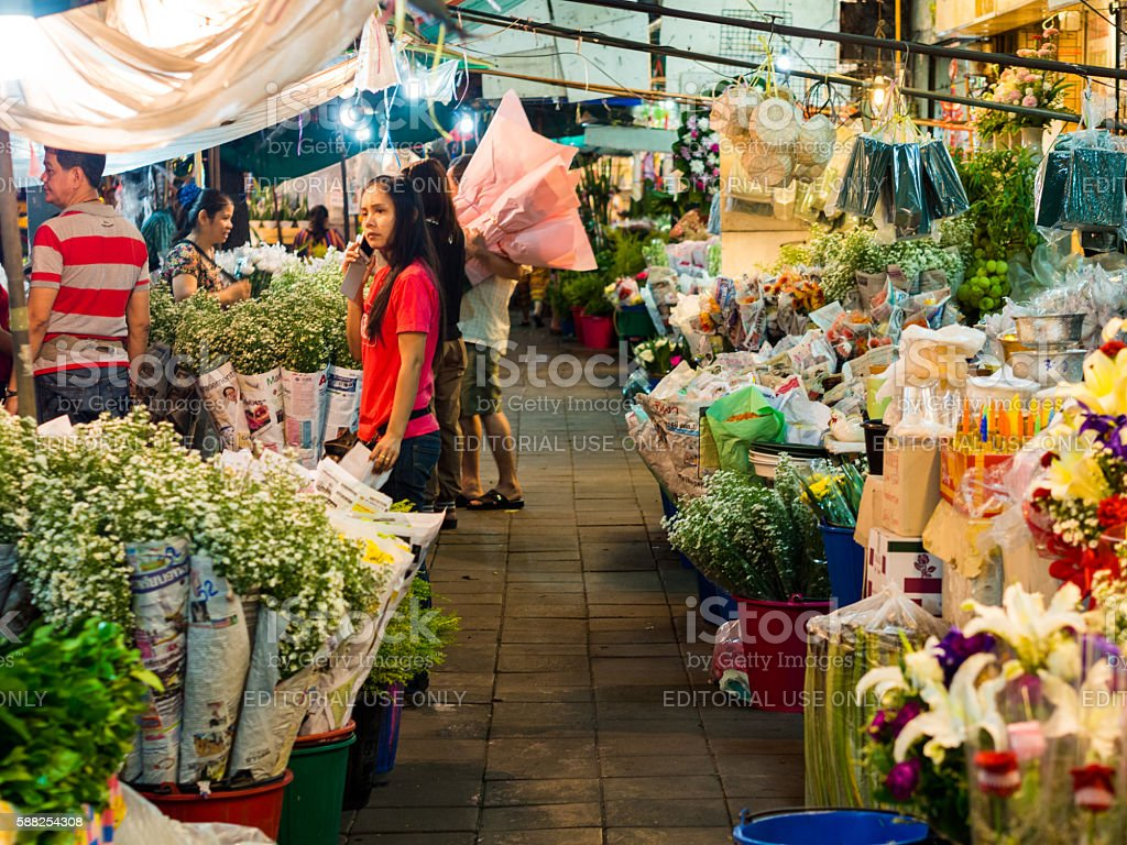 Pak Khlong Talat in Bangkok, Thailand stock photo