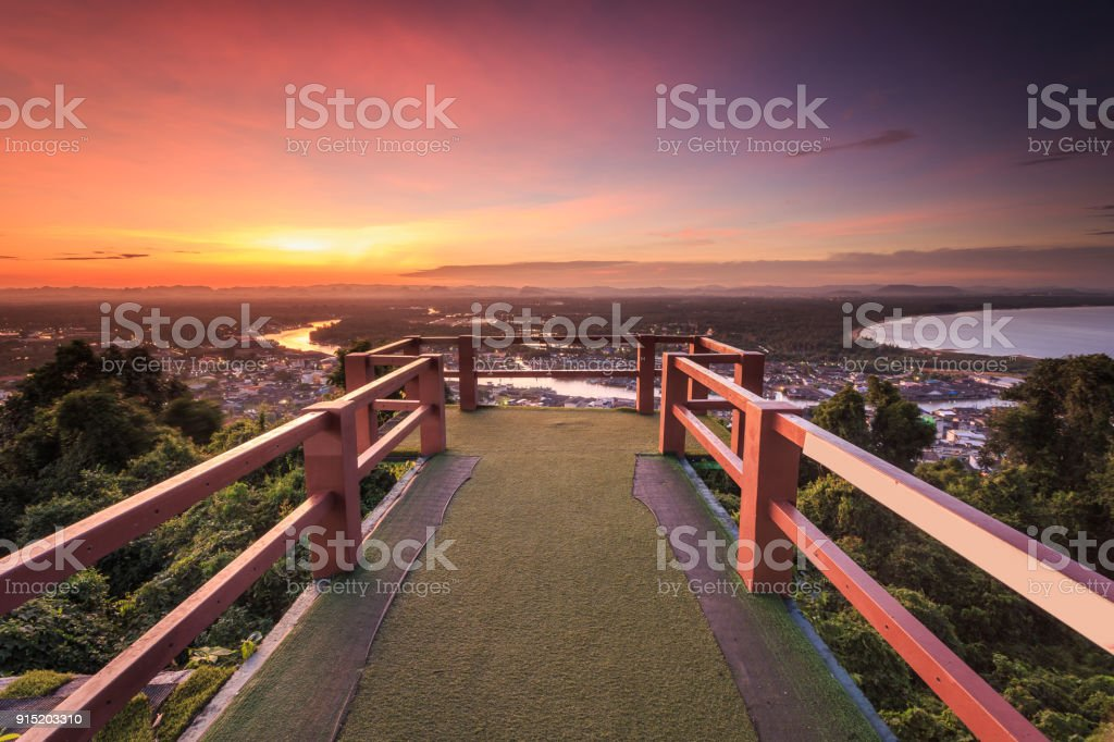 Pak Nam Chumphon. View from Khao (Hill) Matsee Viewpoint in Chumphon, Thailand at sunset time stock photo