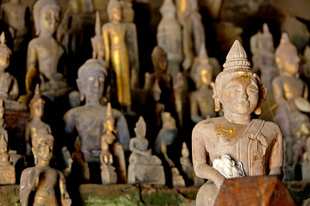 Pak Ou caves Laos stock photo