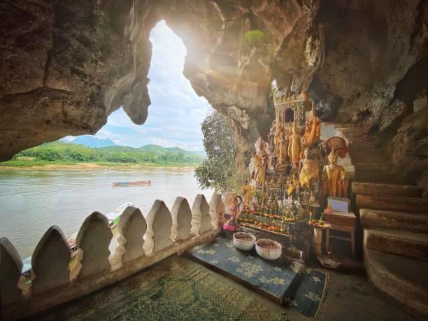 Pak Ou Höhle Buddhas Laos Mekong Fluss – Foto