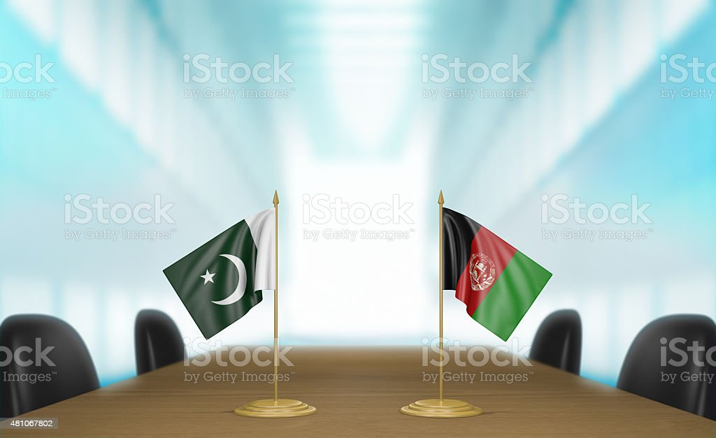 Pakistan and Afghanistan relations and trade deal talks 3D rendering stock photo