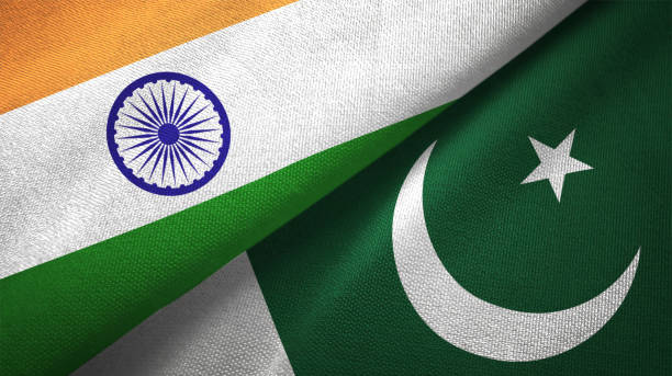 pakistan and india two flags together textile cloth fabric texture - pakistano foto e immagini stock