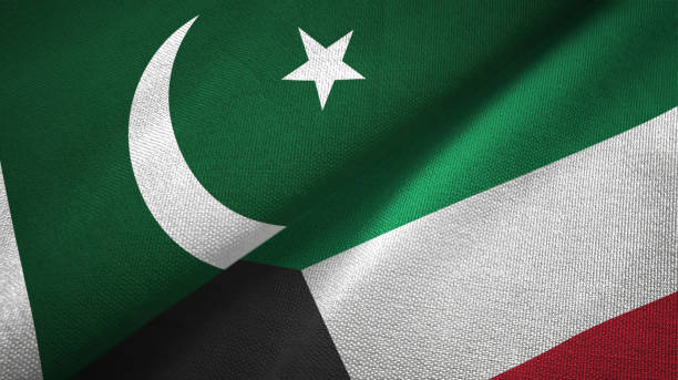 pakistan and kuwait two flags textile cloth, fabric texture - kuwait currency stock photos and pictures