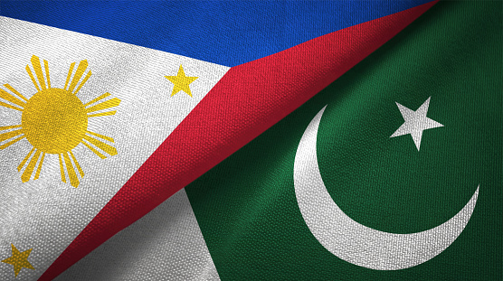 Pakistan And Philippines Two Flags Together Textile Cloth Fabric Texture Stock Photo - Download Image Now - iStock