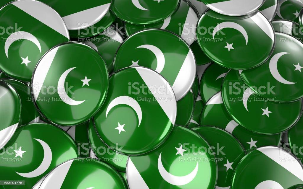 Pakistan Badges Background - Pile of Pakistani Flag Buttons. ロイヤリティフリーストックフォト