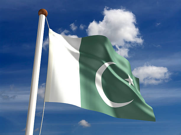 pakistan flag (with clipping path) - pakistani flag stock photos and pictures