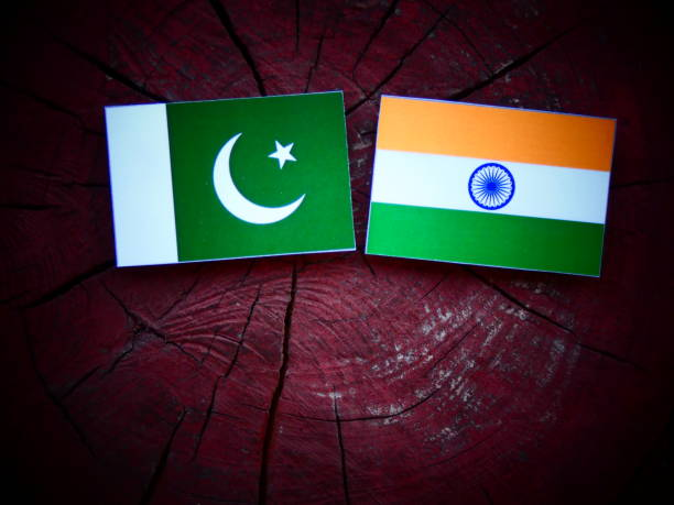 pakistan flag with indian flag on a tree stump isolated - pakistani flag stock photos and pictures