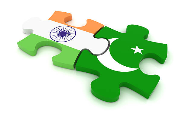 pakistan india puzzle concept - pakistani flag stock photos and pictures