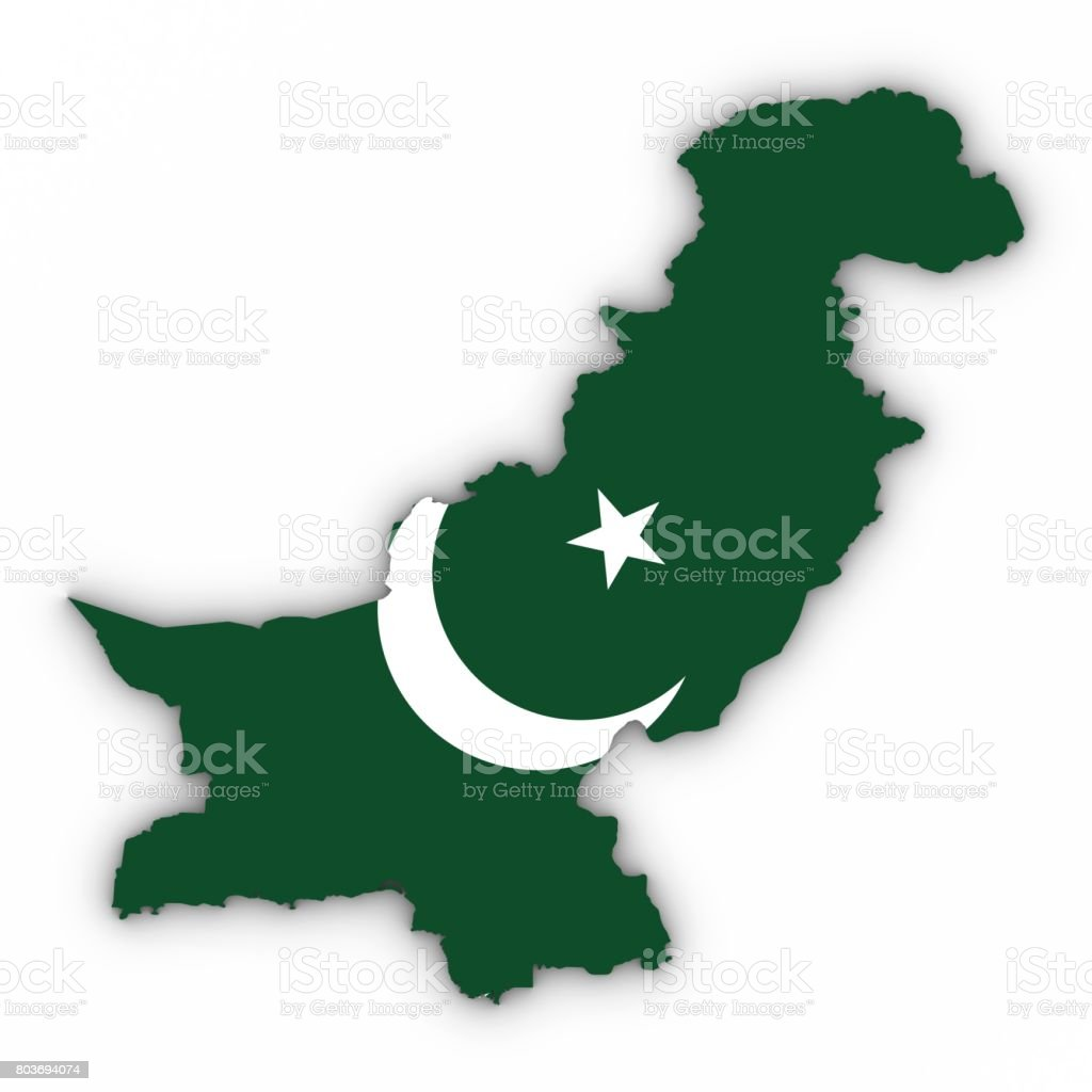 Pakistan Map Outline with Pakistani Flag on White with Shadows 3D Illustration stock photo