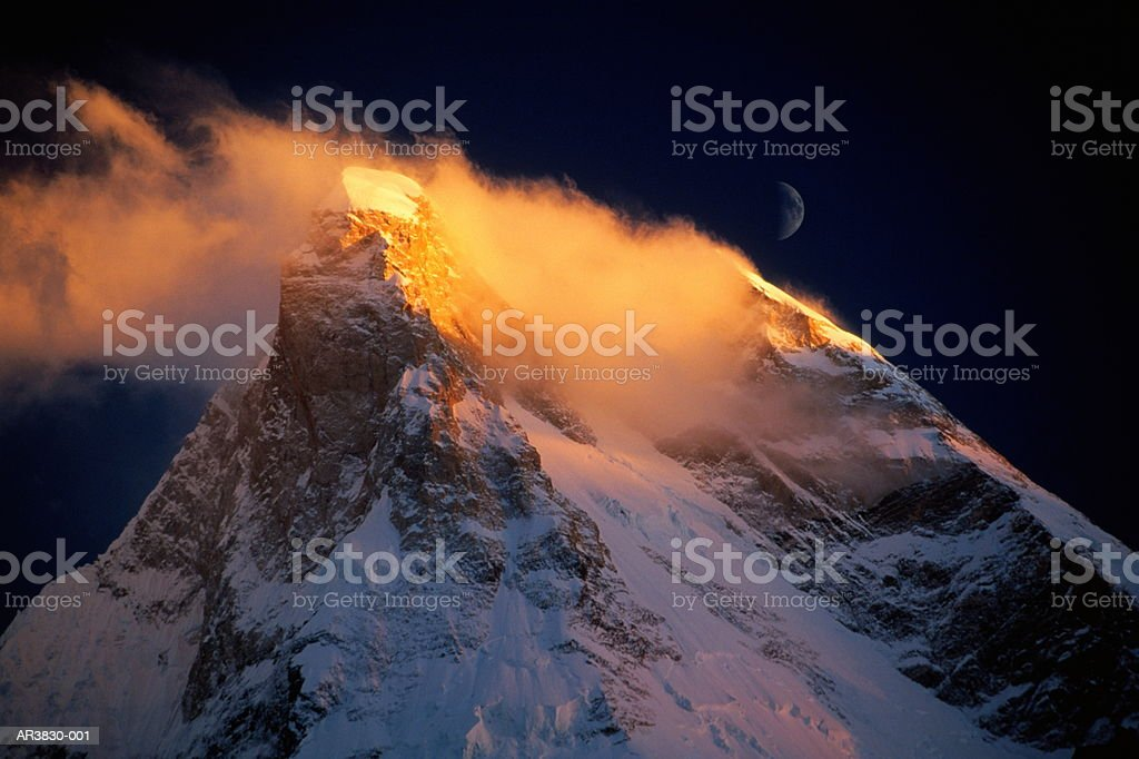 Pakistan, Northern Areas, Baltistan, Masherbrum Peak, sunset royalty-free stock photo