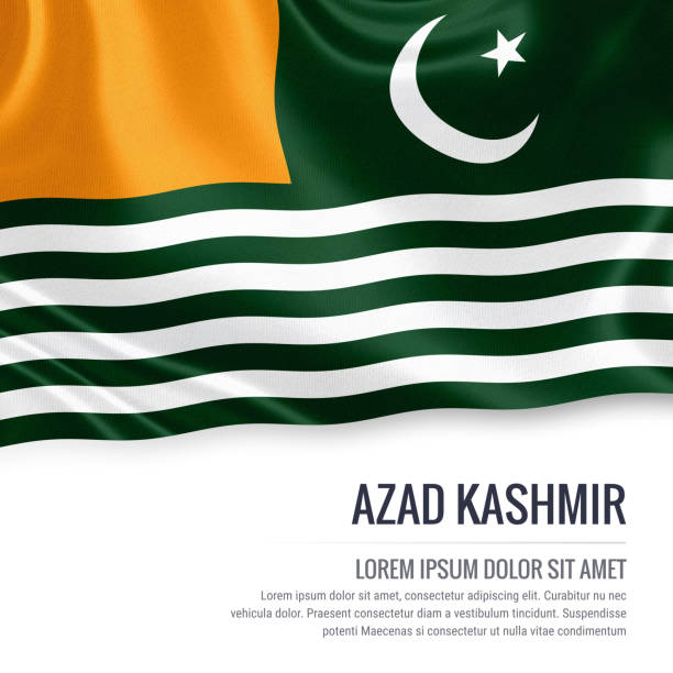 Pakistan state Azad Kashmir flag waving on an isolated white background. State name and the text area for your message. 3D illustration. stock photo