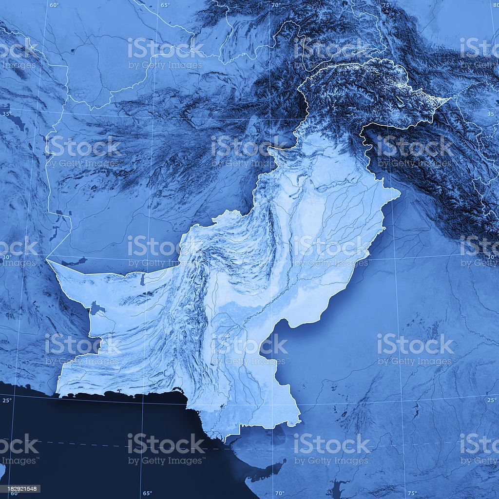 Pakistan Topographic Map royalty-free stock photo