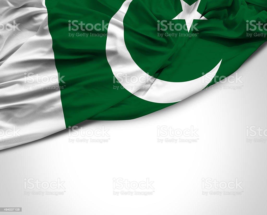Pakistan waving flag on white background stock photo