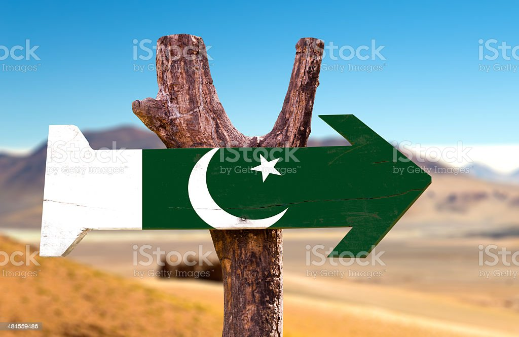 Pakistan wooden sign with a desert background stock photo