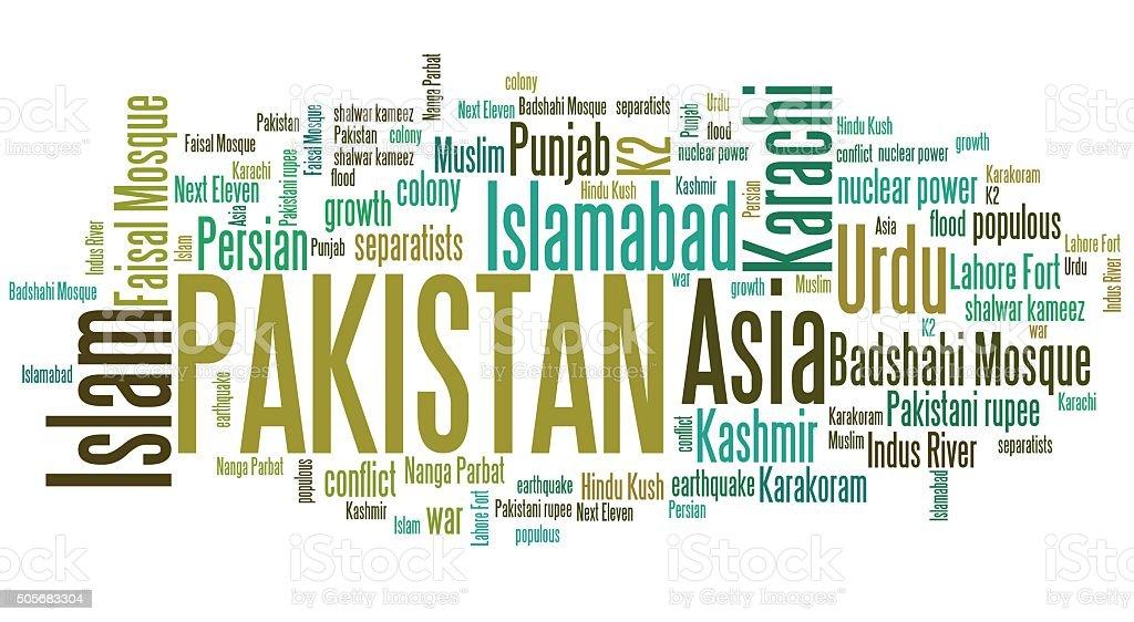 Pakistan word cloud stock photo