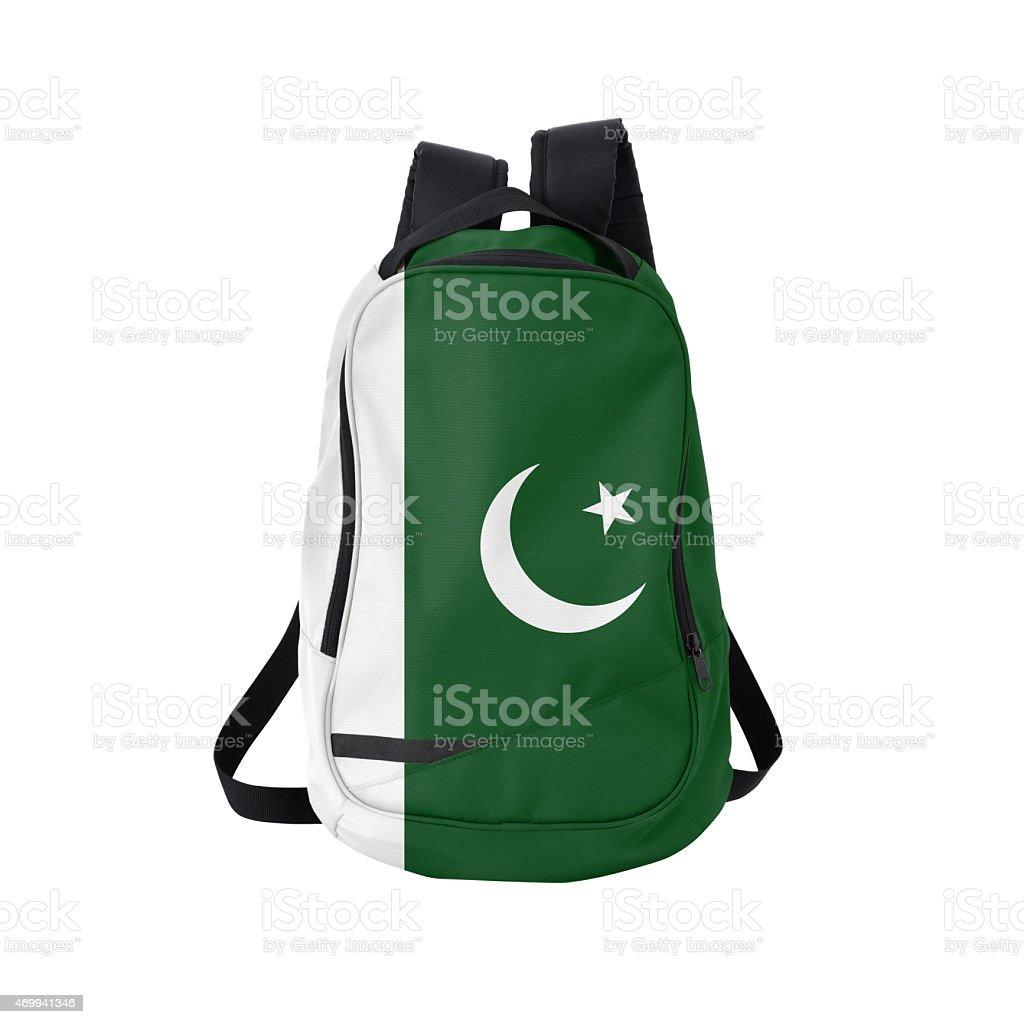 Pakistani flag backpack isolated on white w/ path stock photo