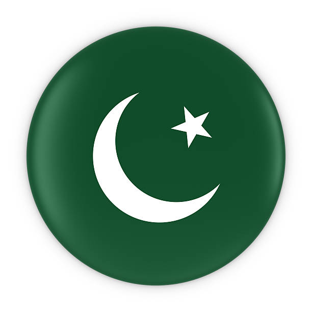 pakistani flag button - flag of pakistan badge 3d illustration - pakistani flag stock photos and pictures