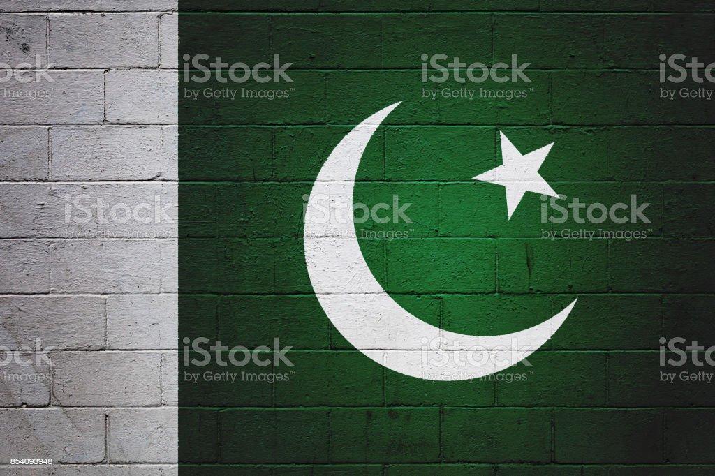 Pakistani flag painted on a wall stock photo