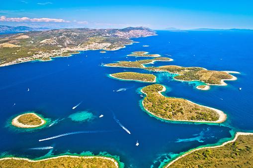 Pakleni otoci yachting destination arcipelago aerial view, Hvar island, Dalmatia region of Croatia