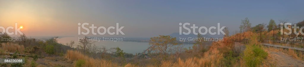 Pakse District sunset stock photo