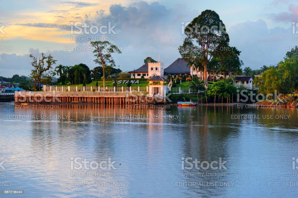 Palace Astana on the north bank of Sarawak River stock photo