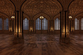 Palace ballroom with candles lighting the room and large arch windows, 3d render.