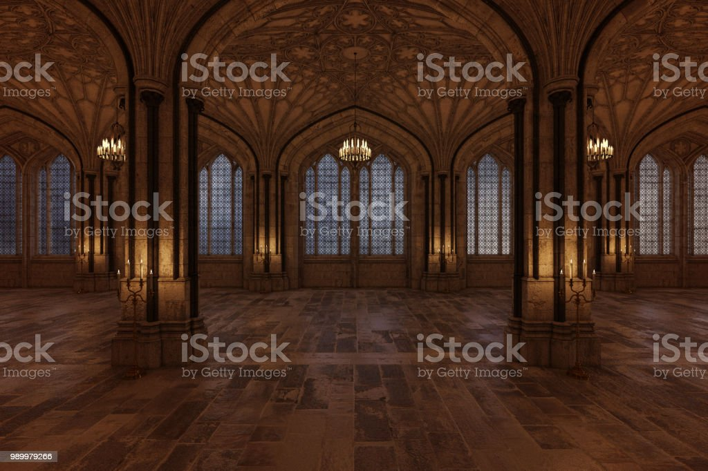 Palace ballroom with candles lighting the room and large arch windows, 3d render. stock photo