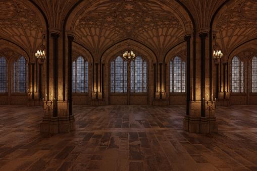 Palace Ballroom With Candles Lighting The Room And Large Arch Windows 3d Render - zdjęcia stockowe i więcej obrazów Architektura