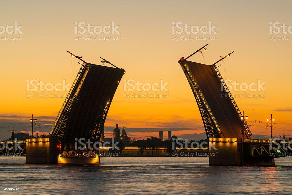 Palace Bridge in St. Petersburg, Russia stock photo