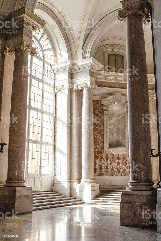 Palace entrance staircase, Caserta Reggia, Italy. stock photo
