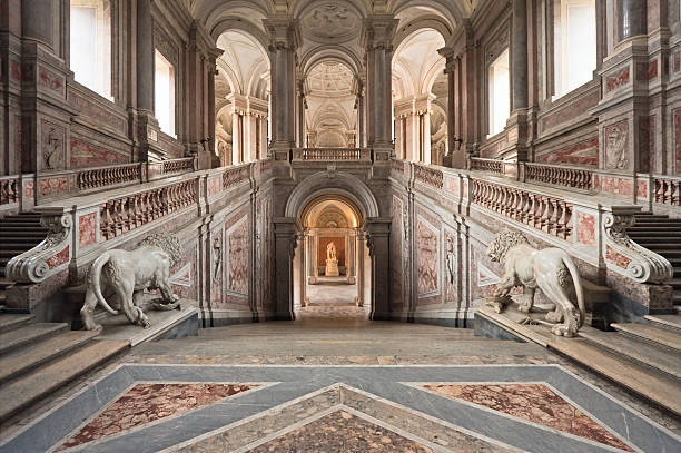 palace entrance staircase - museum stockfoto's en -beelden