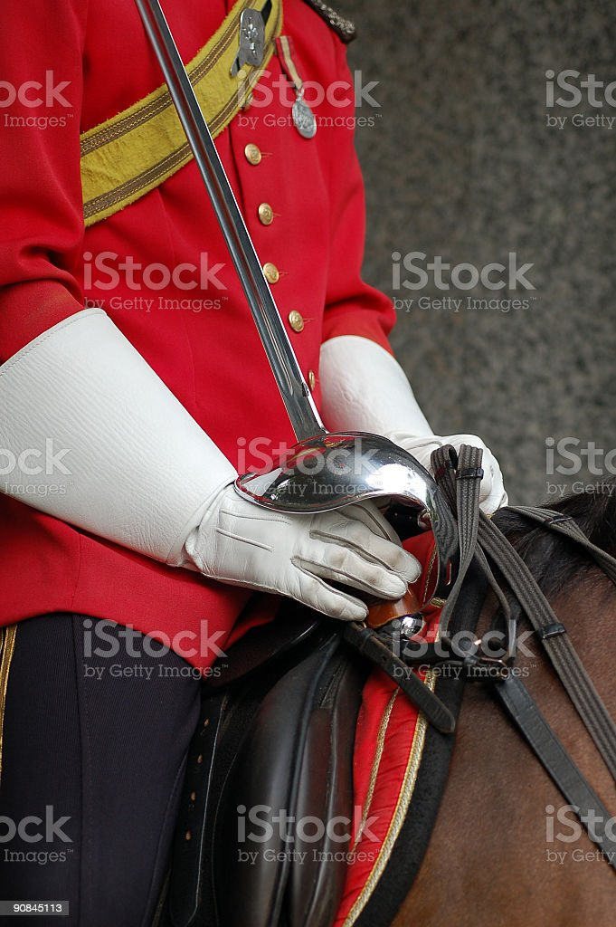 Palace guard with sword stock photo