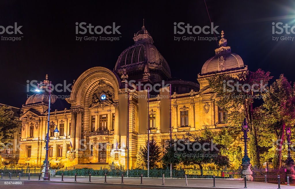 CEC Palace in Bucharest - Romania stock photo