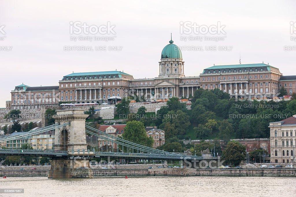 Palace in Budapest and Elizabeth Bridge stock photo
