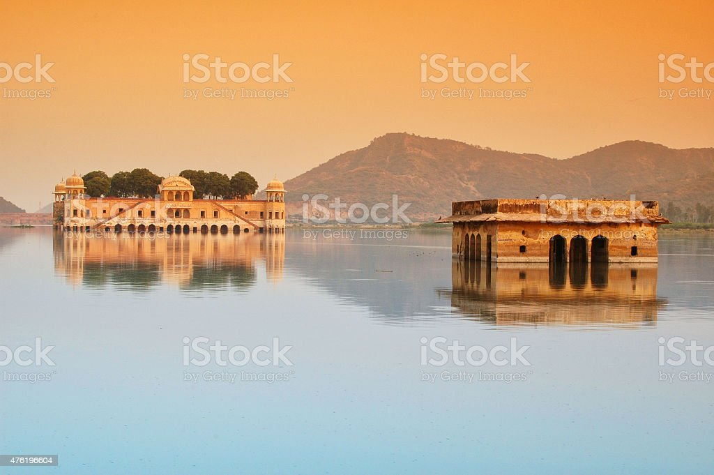 Palace in Middle of Lake. Water Reflection. Jal Mahal, India. stock photo