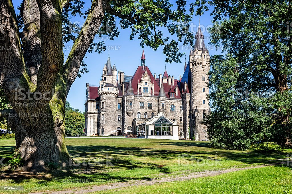 Palace in Neo-Gothic style, Moszna, Poland stock photo