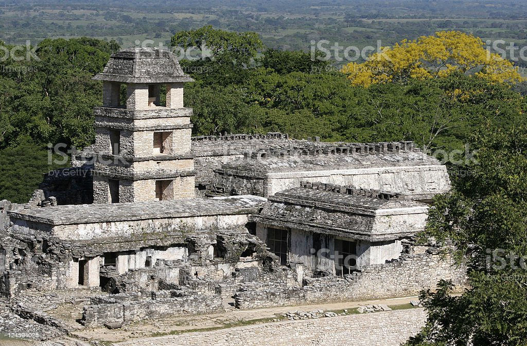 Palace in Palenque stock photo