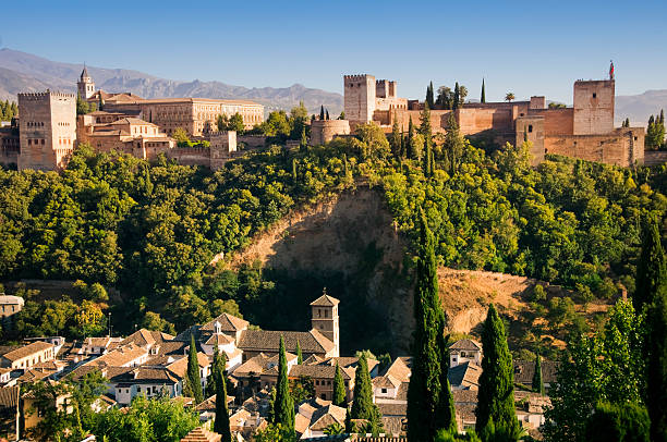 Palace of Alhambra in Granada, Spain Alhambra palace in Granada (Spain) seen from the Albaicin palace of charles v stock pictures, royalty-free photos & images