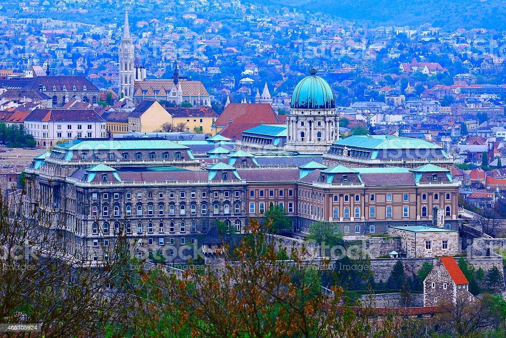 Palace of Buda, Matthias Church at evening - Budapest, Hungary stock photo