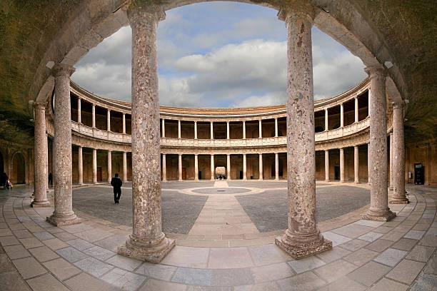 Palace of Charles V Courtyard of the Palace of Charles V (Palacio de Carlos V) in La Alhambra, Granada, Spain. palace of charles v stock pictures, royalty-free photos & images