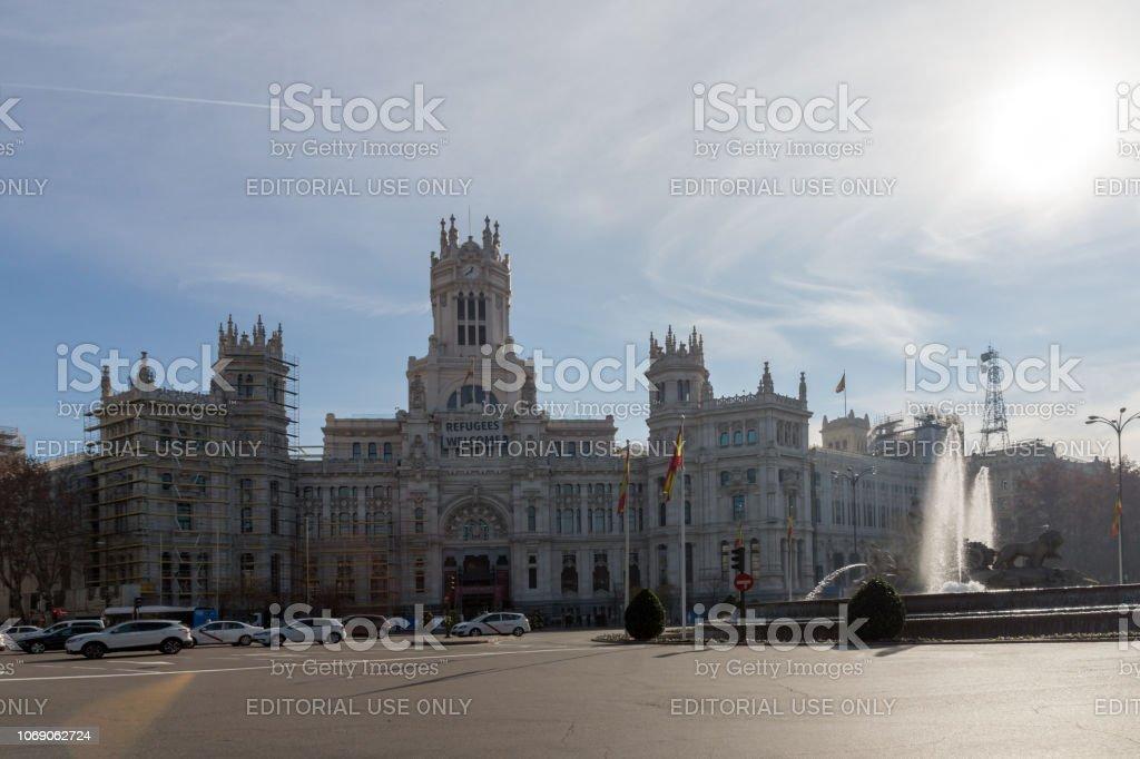 Palacio De Cibeles En La Plaza De Cibeles En La Ciudad De Madrid