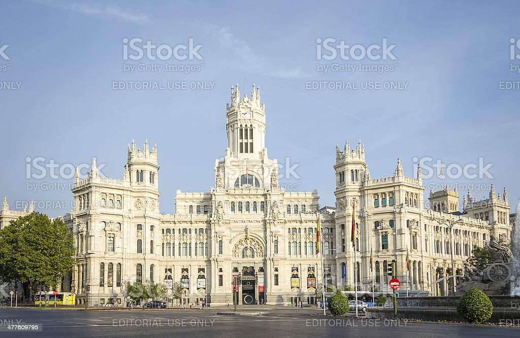 Palace of communications in Cibeles square, Madrid stock photo