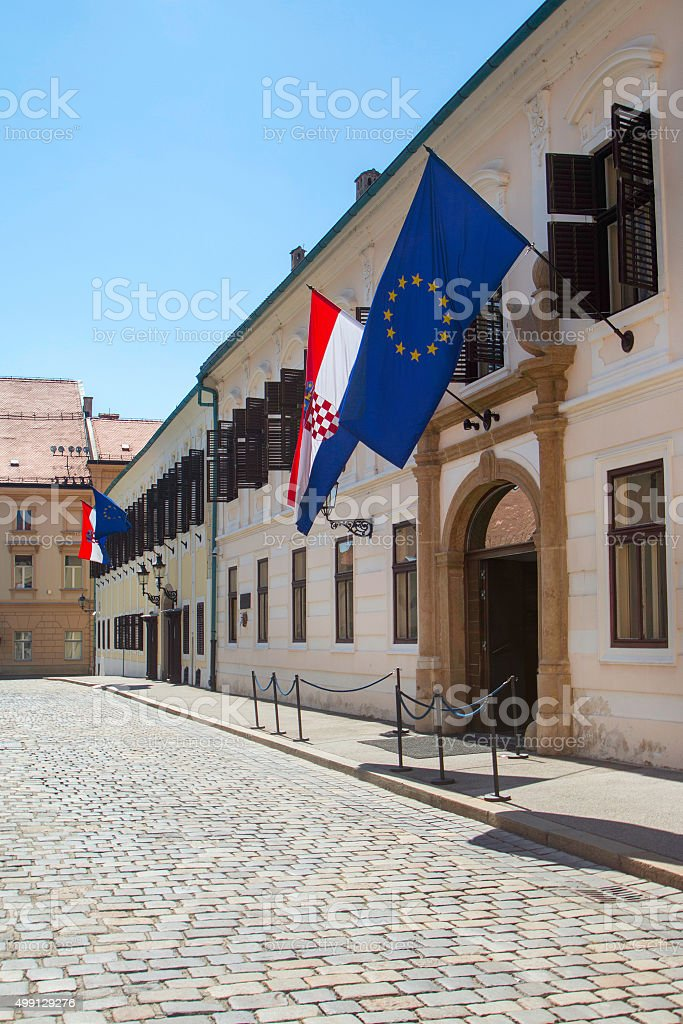 Palace of Croatian Government on St Mark's Square stock photo