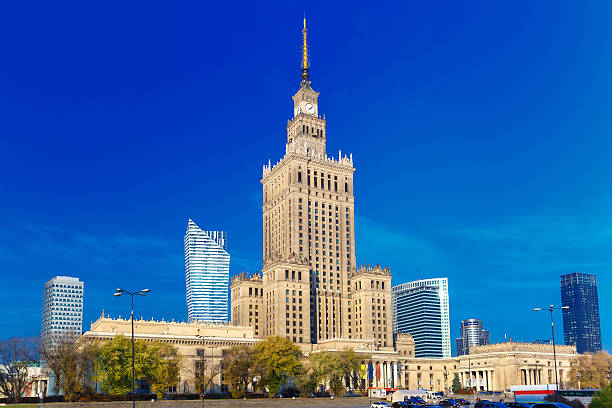 Palace of Culture and Science in Warsaw city downtown, Poland. stock photo