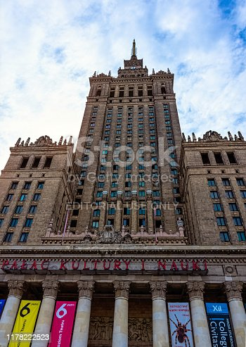 Warsaw, Masovia, Poland - August 14, 2019: Palace of Culture and Science