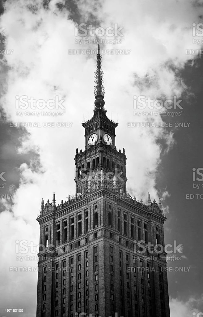 Palace of Culture and Science (PKiN) in Warsaw stock photo