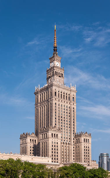 palace of culture in warsaw, poland - poland stock photos and pictures